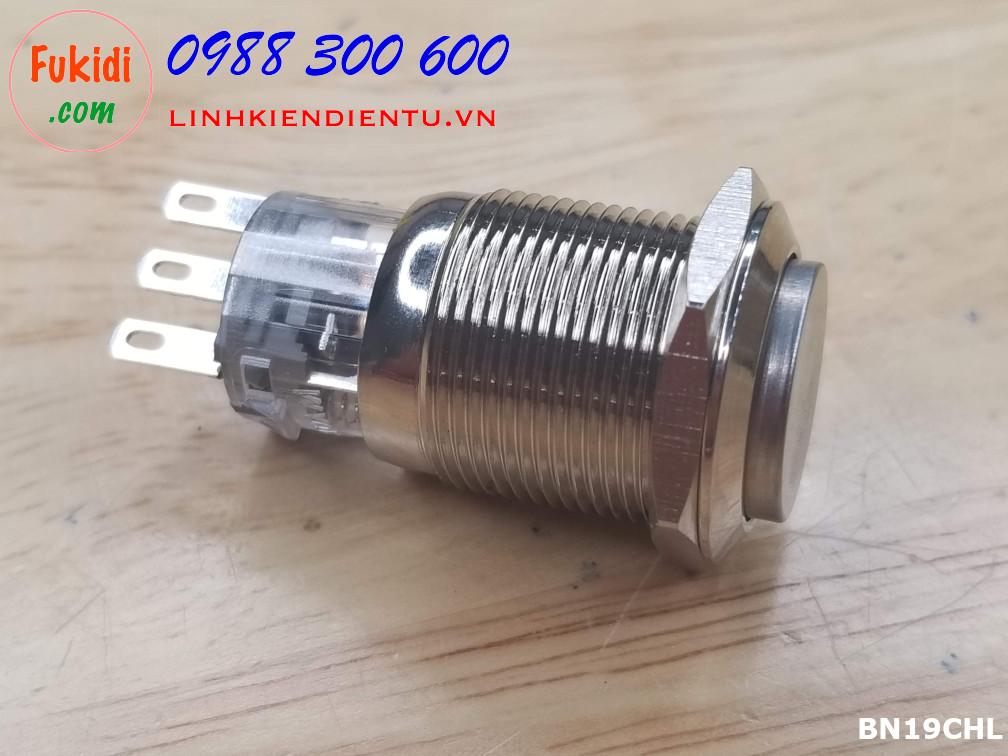 Nút nhấn nhả vỏ kim loại 19mm, đế trong suốt, đầu nút lồi 5A 250V  BN19CHL