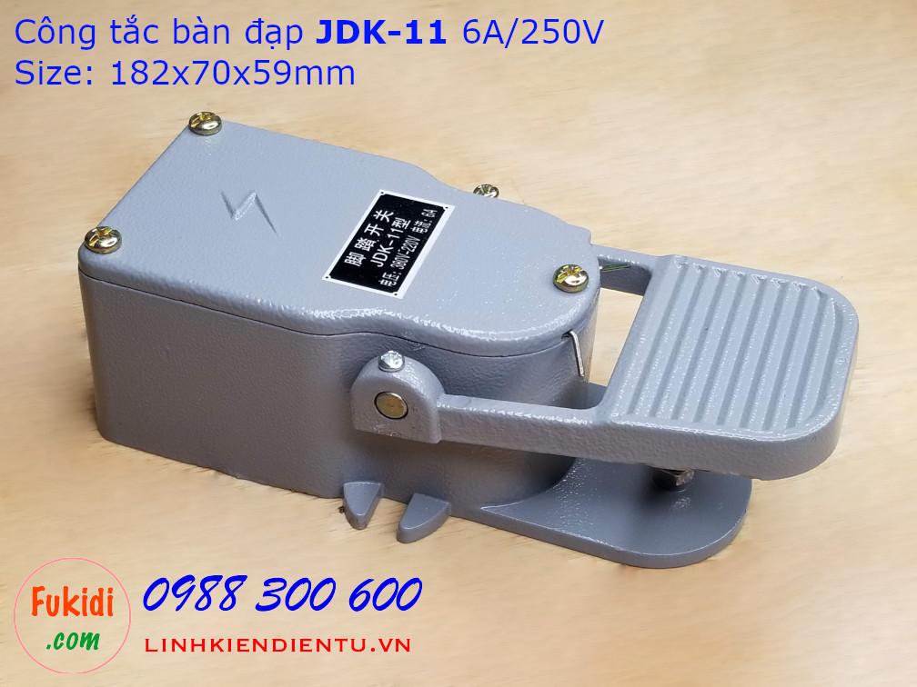 Công tắc bàn đạp JDK-11 6A/250VAC vỏ nhôm kích thước 182x70x59mm