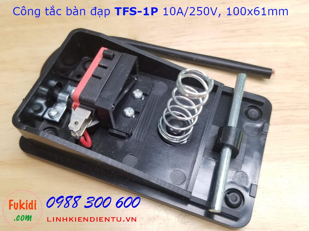 Công tắc bàn đạp TFS-1P nhựa đen 10A/250VAC, size 100x61mm