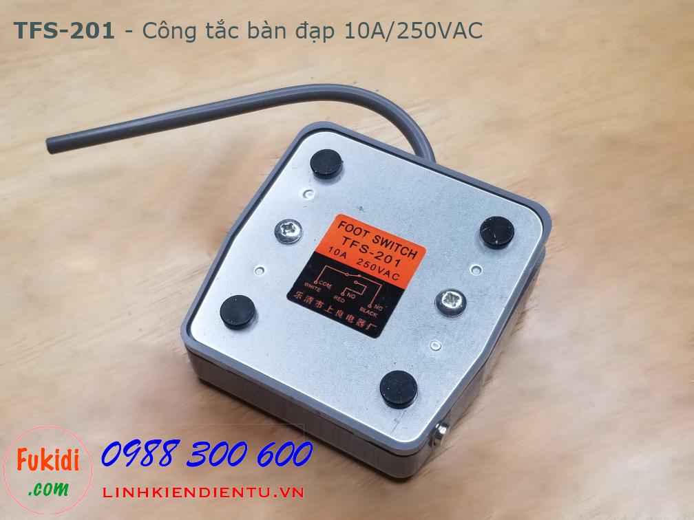 Công tắc bàn đạp TFS-201 10A/205VAC vỏ nhựa, đế thép