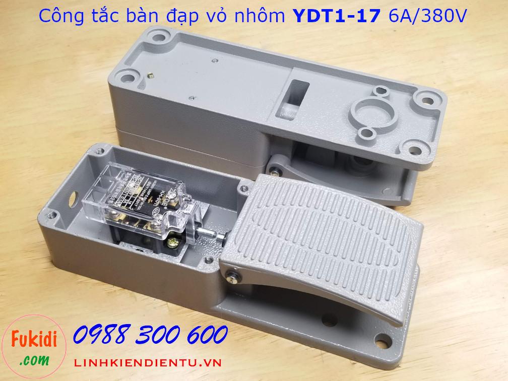 Công tắc bàn đạp YDT1-17 6A/380V vỏ nhôm, kích thước 206x70x55mm