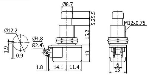 Công tắc nhấn nhả PBS-24B-4 dùng cho các công tắc bàn đạp