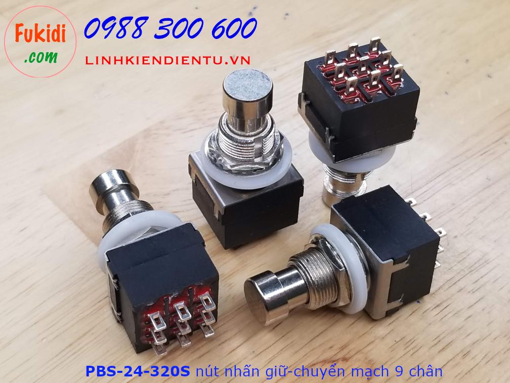 PBS-24-302S Nút nhấn giữ-chuyển mạch 9 chân cho công tắc bàn đạp