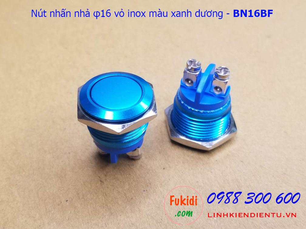 Nút nhấn nhả φ16mm vỏ inox màu xanh dương đầu bằng - BN16BF