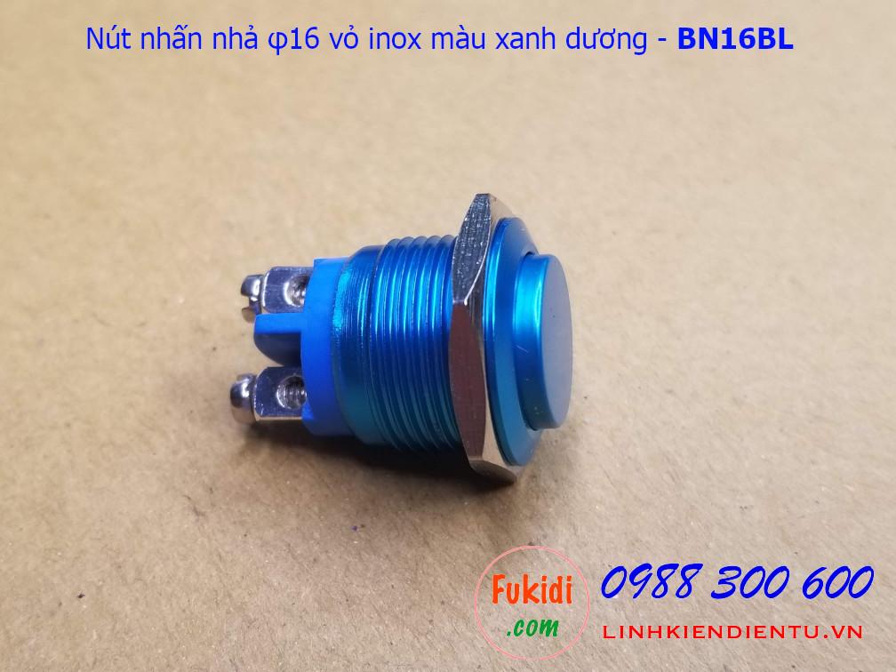Nút nhấn nhả φ16mm vỏ inox màu xanh dương đầu cao - BN16BL
