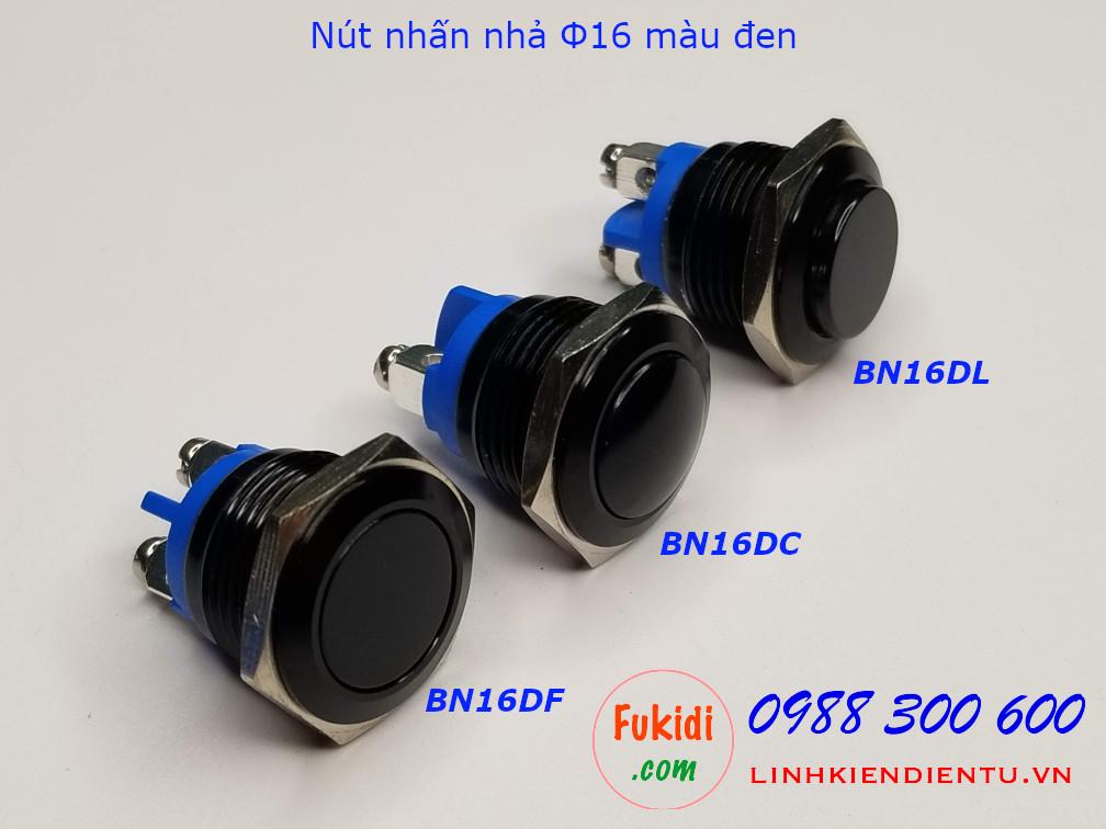 Nút nhấn nhả φ16mm vỏ inox màu đen đầu hình cầu - BN16DC