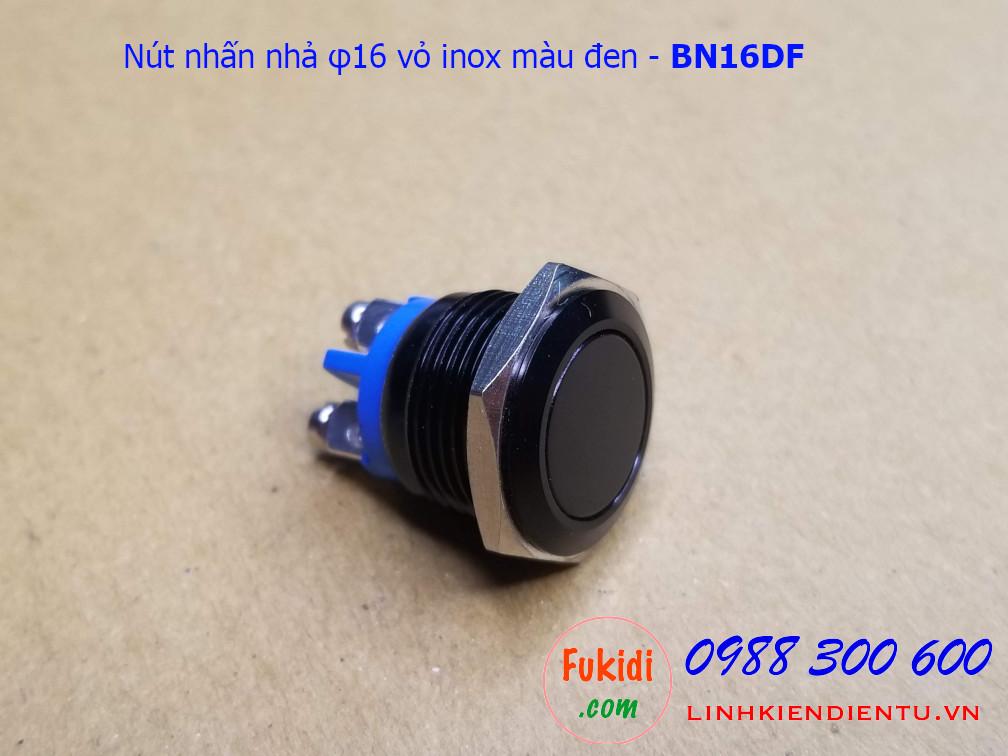 Nút nhấn nhả φ16mm vỏ inox sơn màu đen đầu phẳng - BN16DF
