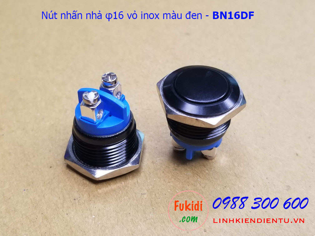 Nút nhấn nhả φ16 vỏ inox sơn màu đen đầu phẳng - BN16DF