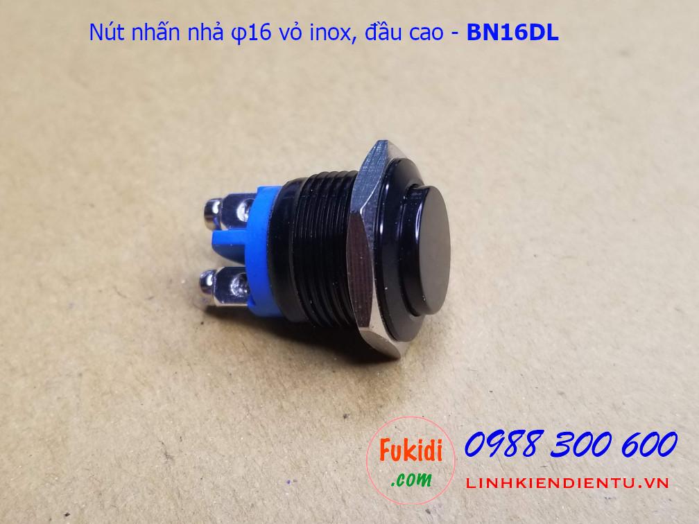 Nút nhấn nhả φ16mm vỏ inox sơn màu đen đầu cao - BN16DL
