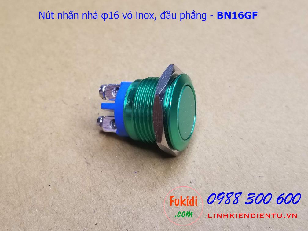 Nút nhấn nhả φ16mm vỏ inox màu xanh lá đầu bằng - BN16GF