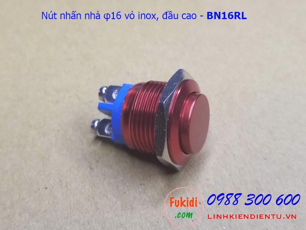 Nút nhấn nhả φ16mm vỏ inox màu đỏ đầu cao - BN16RL