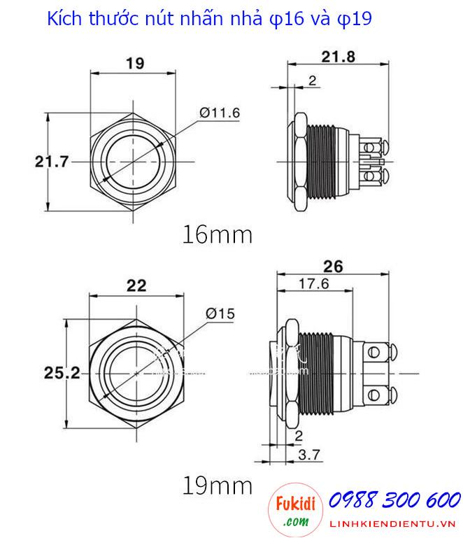 Chi tiết kích thước của nút nhấn BN16DL, BN16DF như hình dưới