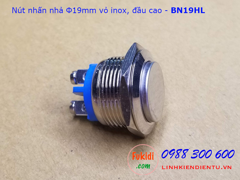 Nút nhấn nhả phi 19mm vỏ inox, hai chân, đầu nút cao - BN19HL
