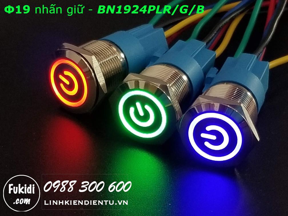 Nút nhấn giữ Φ19 có đèn hình logo nguồn màu xanh lá, điện áp 12-24V - BN1924PLG
