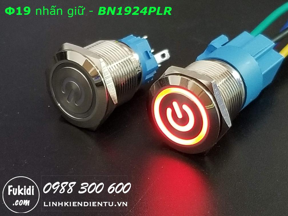 Nút nhấn giữ Φ19 có đèn hình logo nguồn màu đỏ, áp 12-24V - BN1924PLR