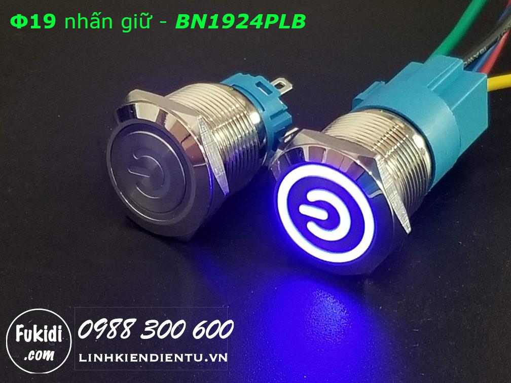 Nút nhấn giữ Φ19 có đèn hình logo nguồn màu xanh dương, điện áp 12-24V - BN1924PLB