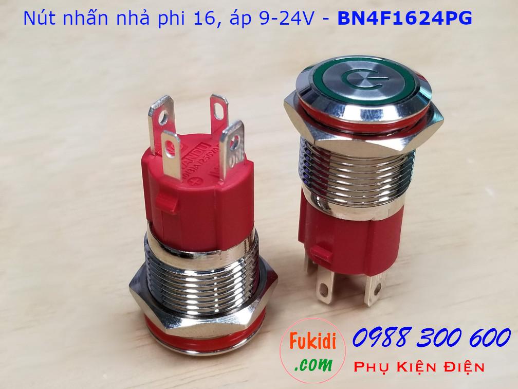 Nút nhấn nhả phi 16 bốn chân, vỏ inox có đèn hình nút nguồn màu xanh lá, điện áp 9-24v - BN4F1624PG