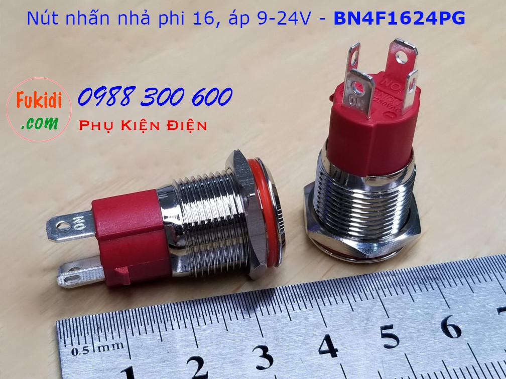 Nút nhấn nhả phi 16 bốn chân, vỏ inox có đèn hình nút nguồn màu đỏ, điện áp 9-24v - BN4F1624PR
