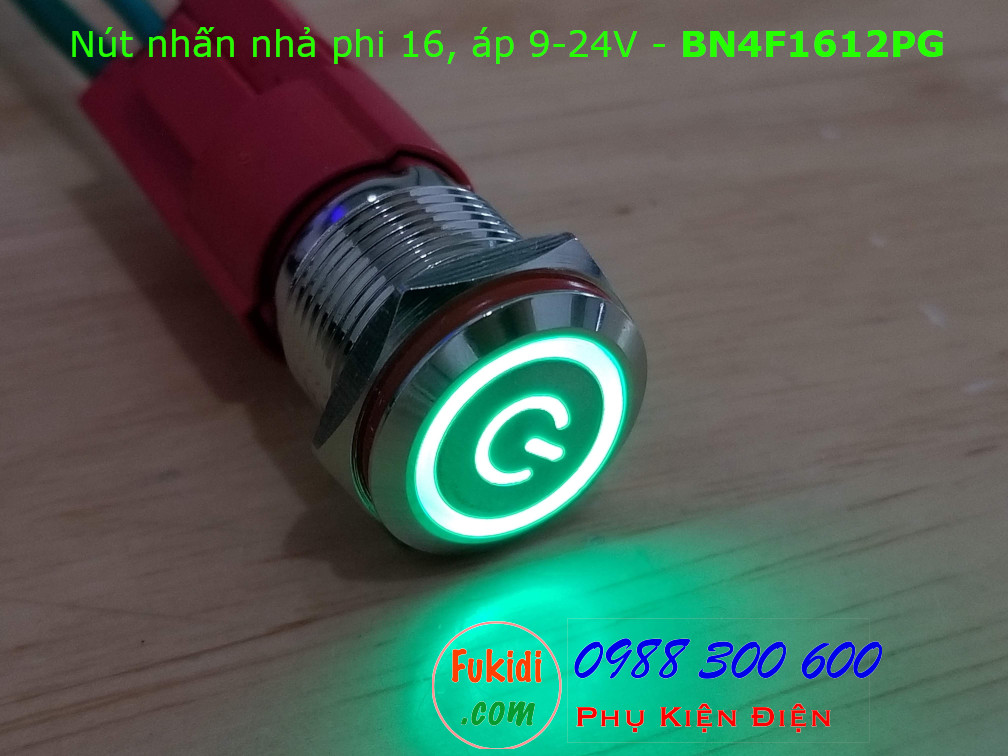 Nút nhấn nhả phi 16 bốn chân, vỏ inox có đèn nút nguồn màu xanh, áp 9-24v - BN4F1624PG