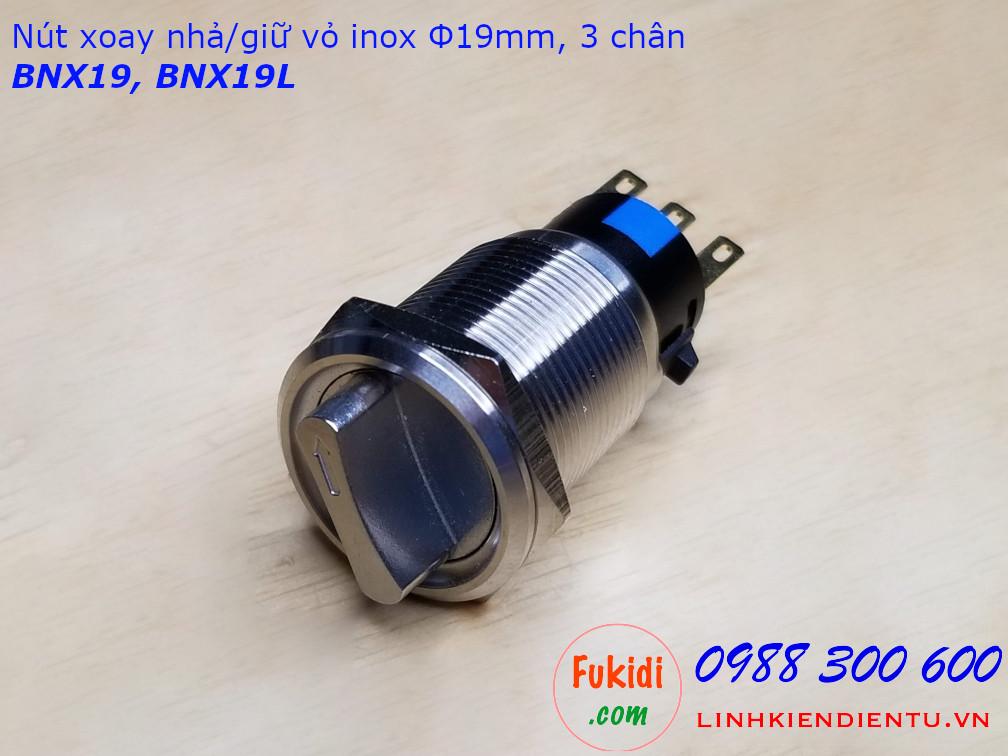 Nút xoay giữ vỏ inox 304 phi 19mm hai tiếp điểm NO-NC BNX19L