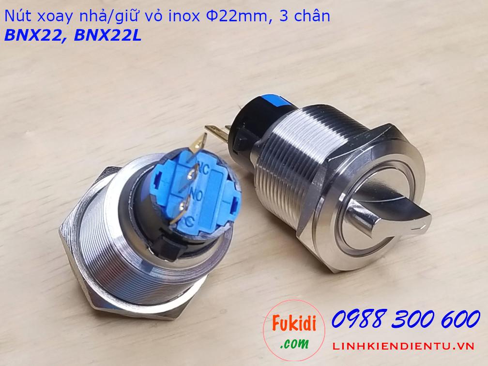 Nút xoay nhả vỏ inox 304 phi 22mm hai tiếp điểm NO-NC BNX22