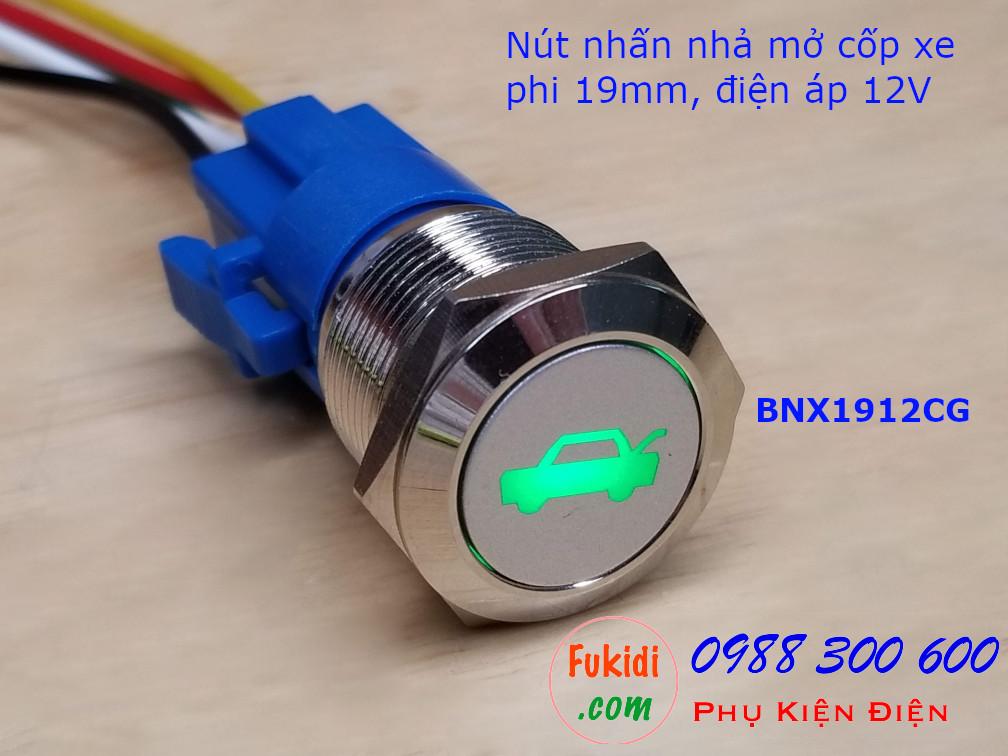 Nút nhấn nhả phi 19mm đèn hình mở cốp xa màu xanh lá điện áp 12V - BNX1912CG