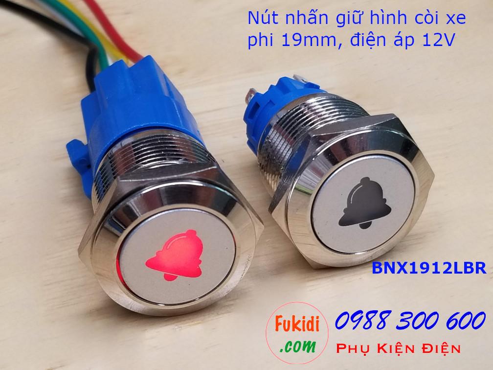 Nút nhấn giữ phi 19mm đèn hình chuông màu đỏ điện áp 12V - BNX1912LBR