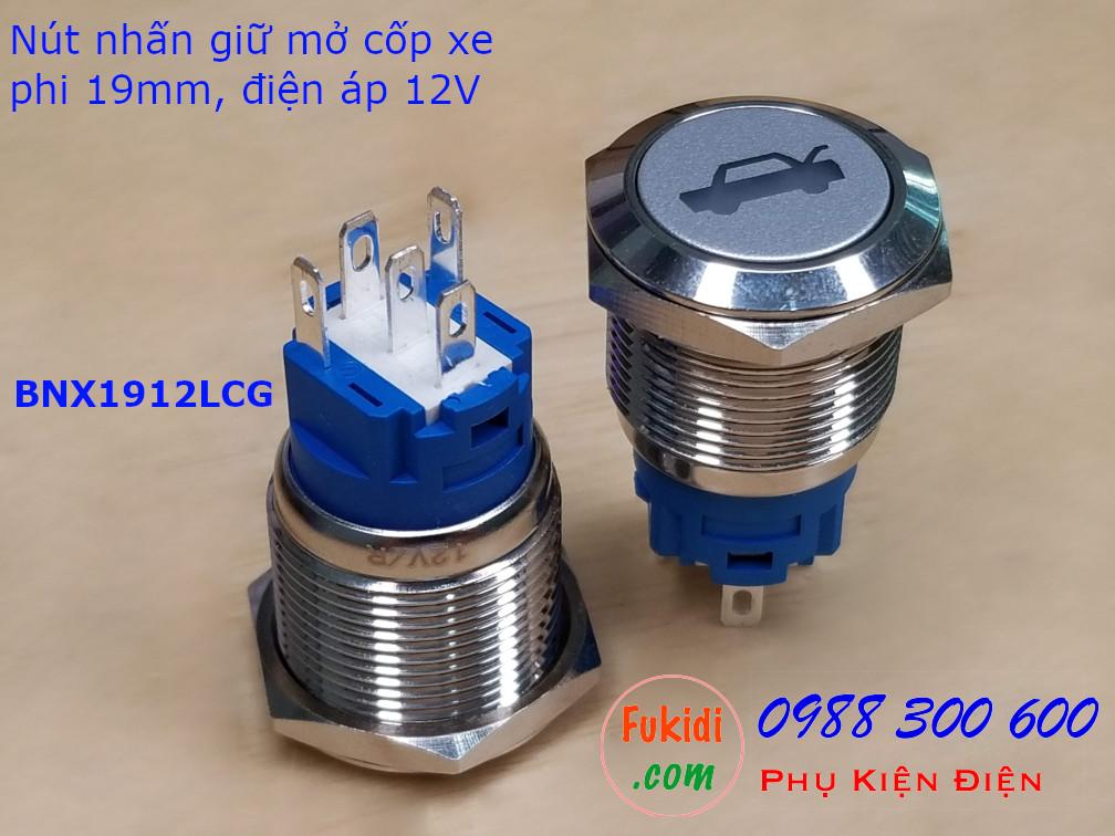 Nút nhấn giữ phi 19mm đèn hình mở cốp xa màu xanh lá điện áp 12V - BNX1912LCG