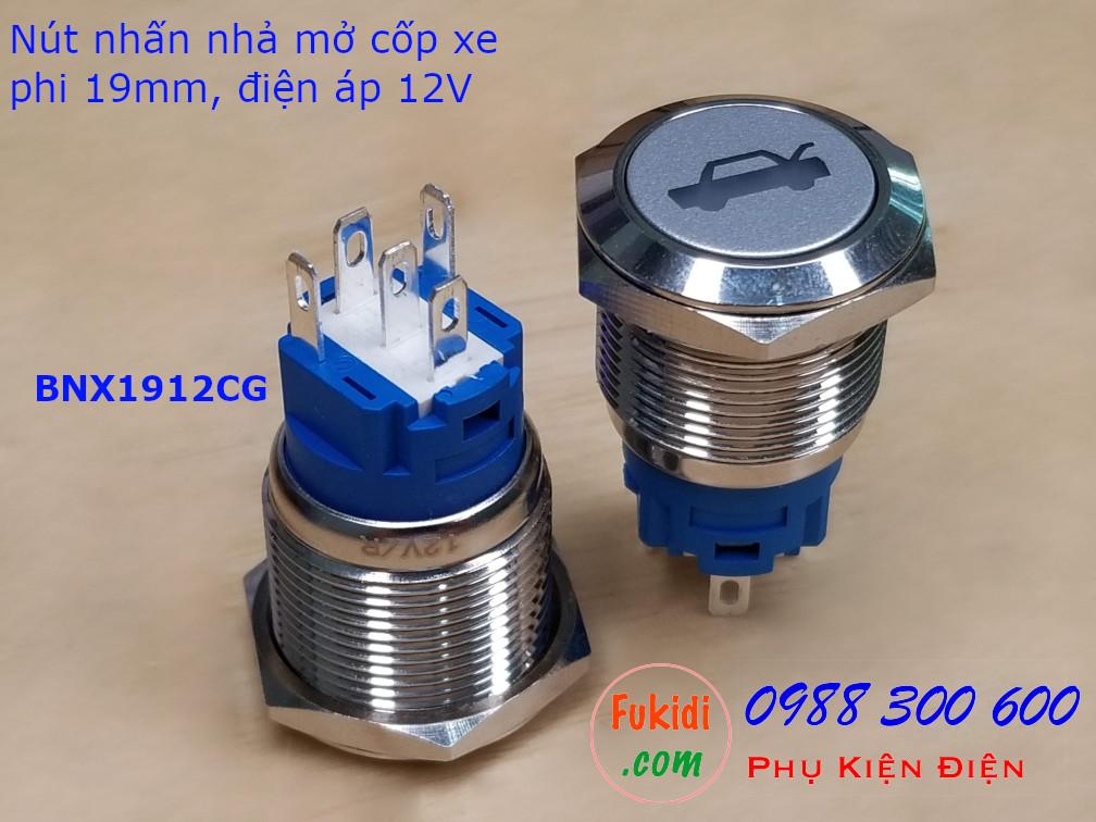 Nút nhấn nhả phi 19mm đèn hình chuông màu đỏ điện áp 12V - BNX1912BR