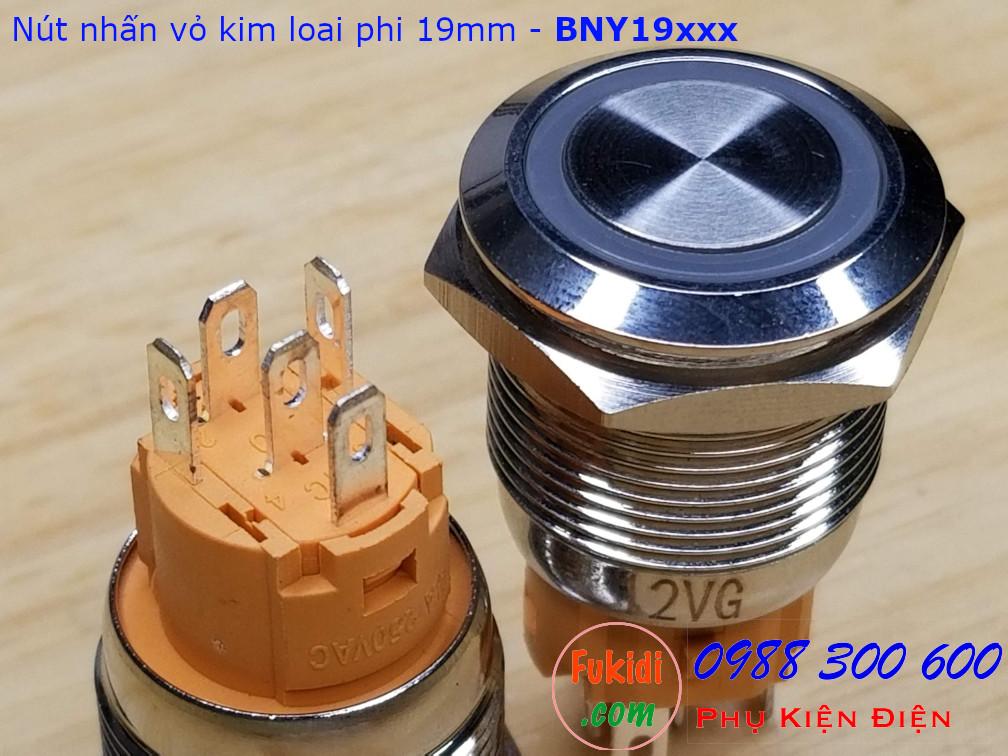 Nút nhấn giữ φ19mm đui vàng có đèn tròn sáng màu xanh lá 12V - BNY1912LG