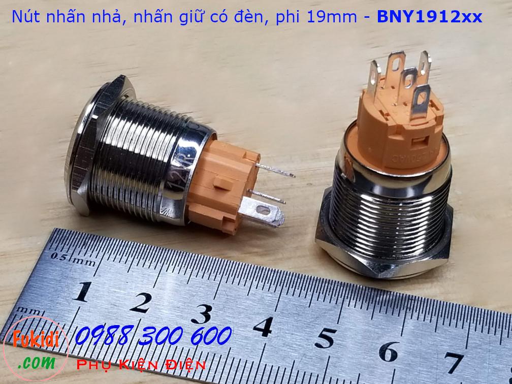 Nút nhấn nhả φ19mm đui vàng có đèn tròn màu đỏ 12V - BNY1912R
