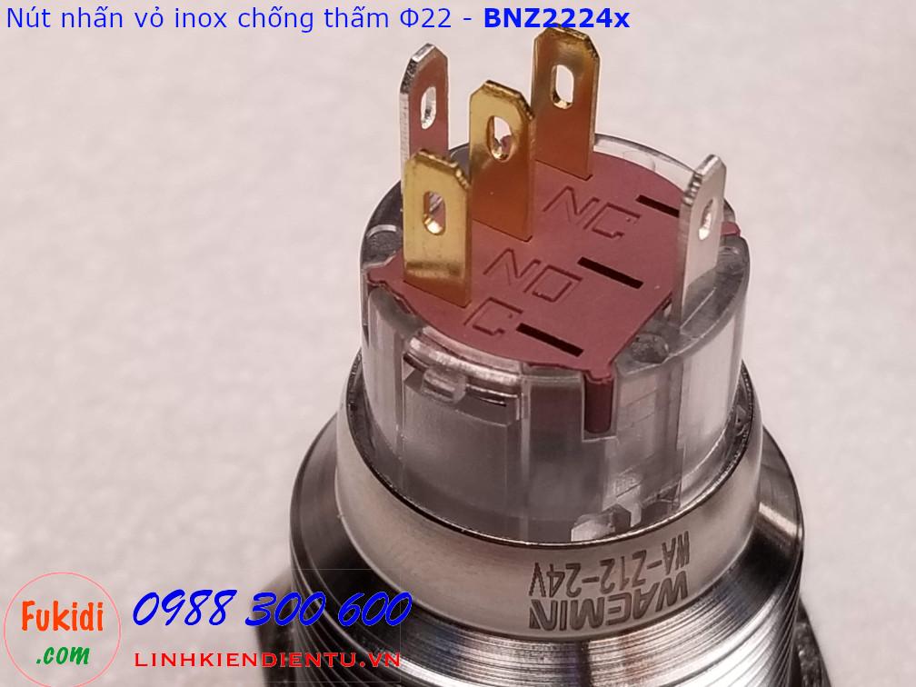 Nút nhấn nhả Φ22mm vỏ inox chống thấm có đèn đỏ điện áp 12-24v BNZ2224R