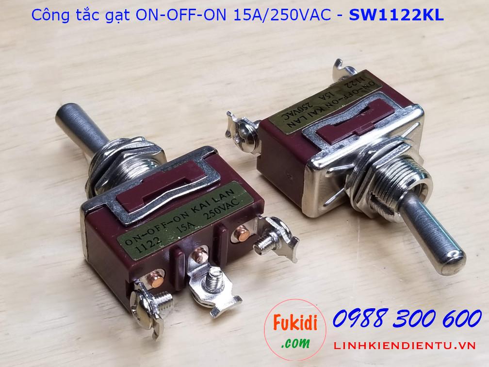Công tắc gạt ba tạng thái ON-OFF-ON 15A/250VAC - SW1122KL