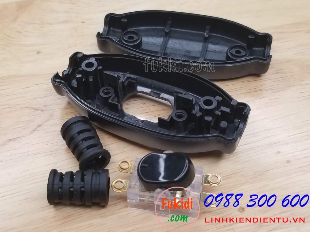 Công tắc treo dây 3A250V chống nước IP65 dạng công tắc bập bênh, màu đen ESW204