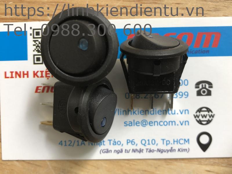 Công tắc tròn (bập bênh) 16A/12V có đèn báo, kích thước 20mm