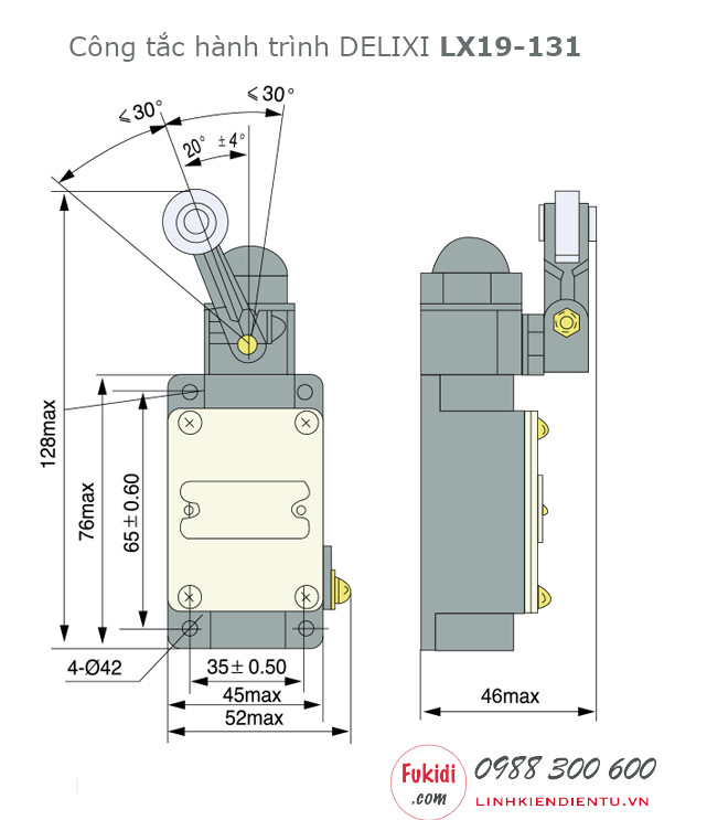 Chi tiết kích thước của công tắc hành trình Delixi LX19-131