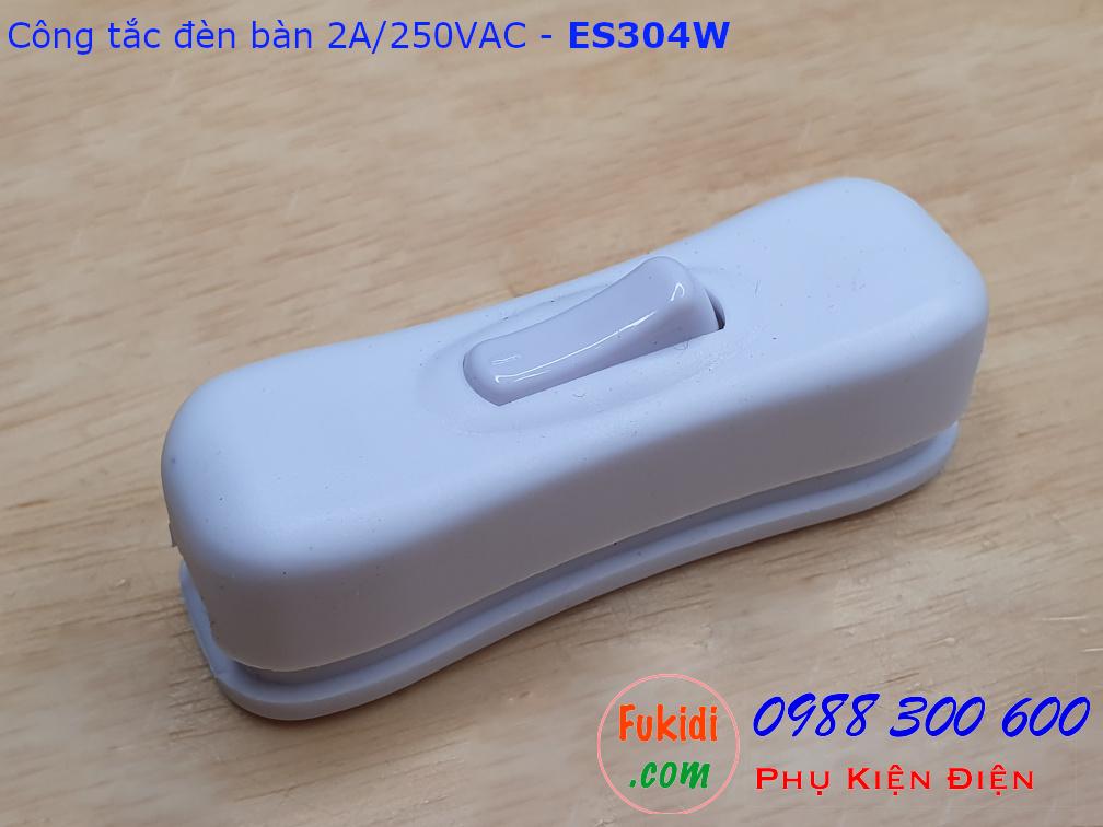 Công tắc treo dây 2A/250V dùng cho đèn bàn, đèn đọc sách màu trắng - ES304W