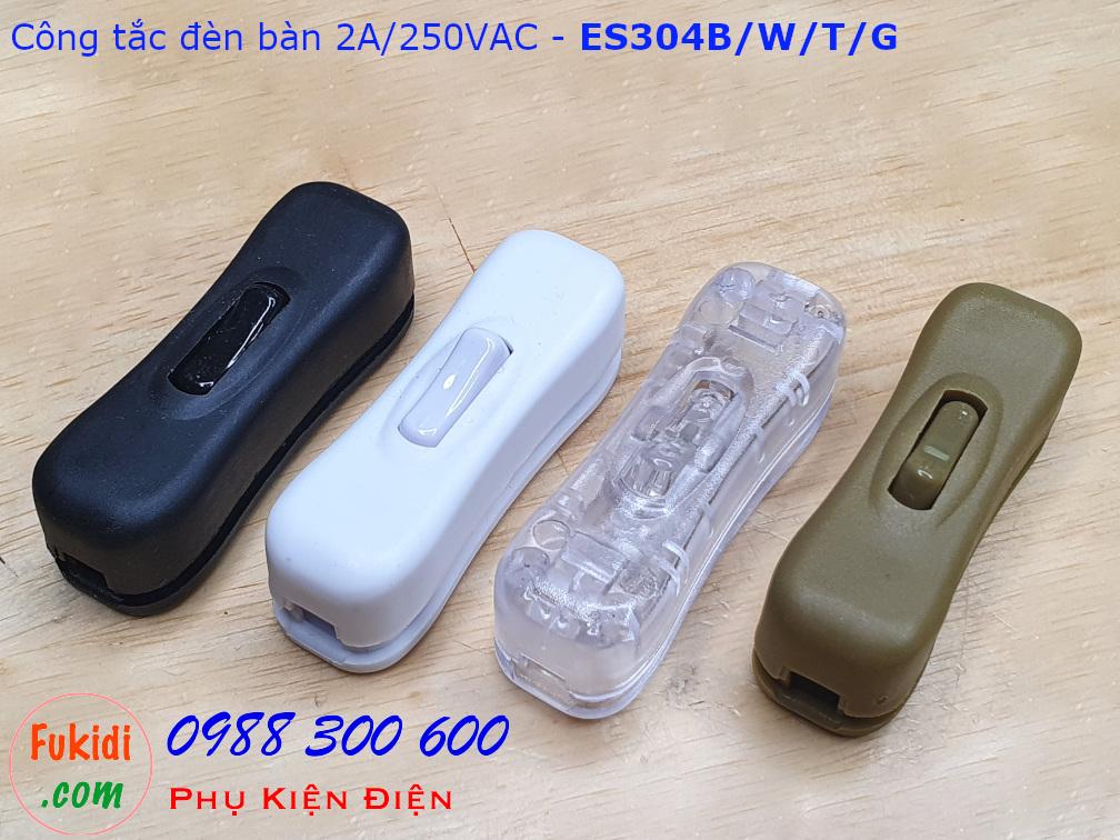 Công tắc treo dây 2A/250V dùng cho đèn bàn, đèn đọc sách màu đen - ES304B