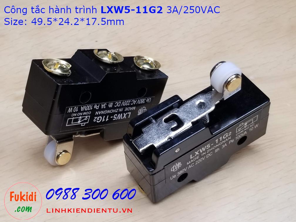 Công tắc hành trình LXW5-11G2 3A/250VAC Size: 49.5x24.2x17.5mm