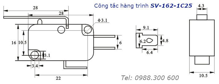 Công tắc hành trình SVGO SV-162-1C25 16A/250V