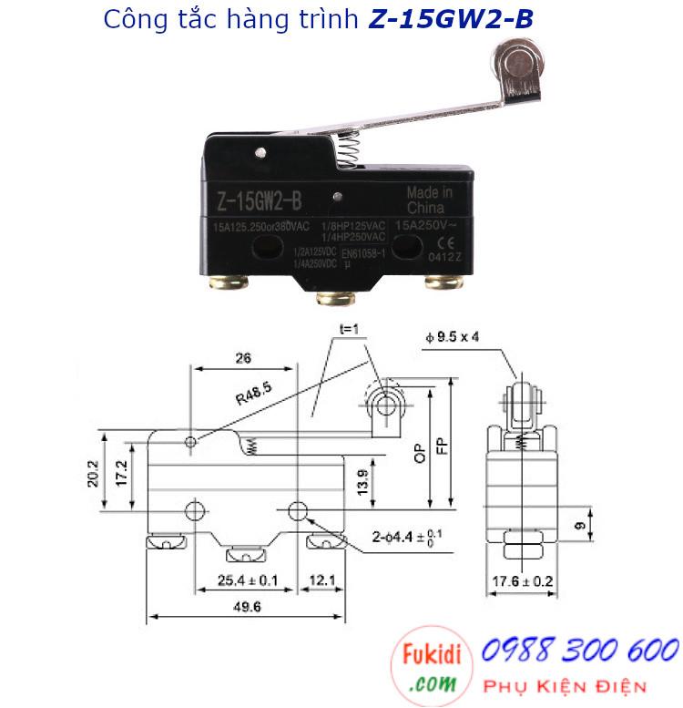 Công tắc hành trình Z-15GW2-B hai tiếp đểm, 15A/250VAC