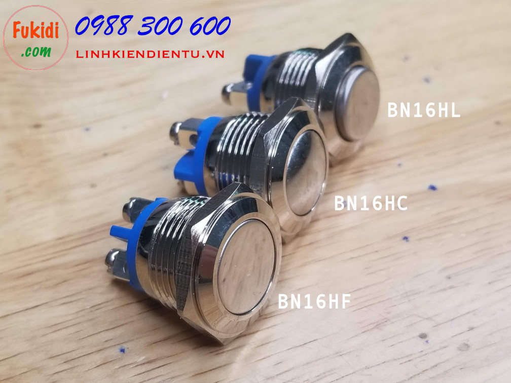 BN16HC - Nút nhấn vỏ inox phi 16mm đầu nút hình cầu