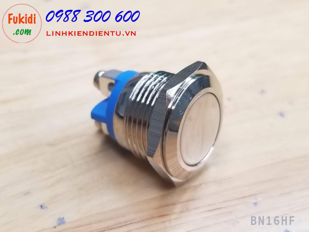 BN16HF - Nút nhấn nhả vỏ kim loai phi 16mm đầu nút phẳng, dây bắt vít