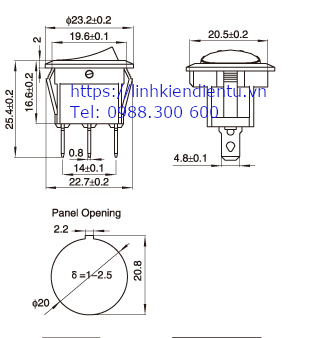Kích thước của công tắc tròn (bập bênh) 16A/12V có đèn báo
