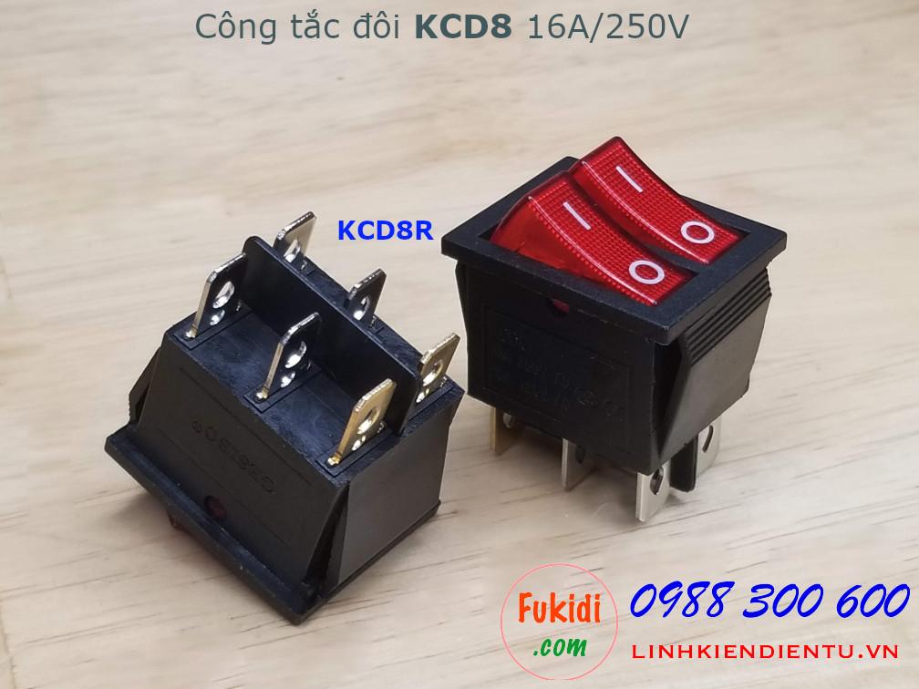 Công tắc bập bênh đôi 16A 250V KCD8 màu đỏ - KCD8R