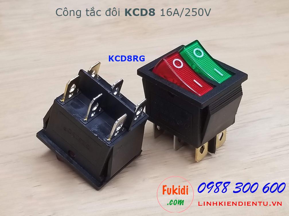 Công tắc bập bênh đôi 16A 250V KCD8 hai màu xanh đỏ - KCD8RG