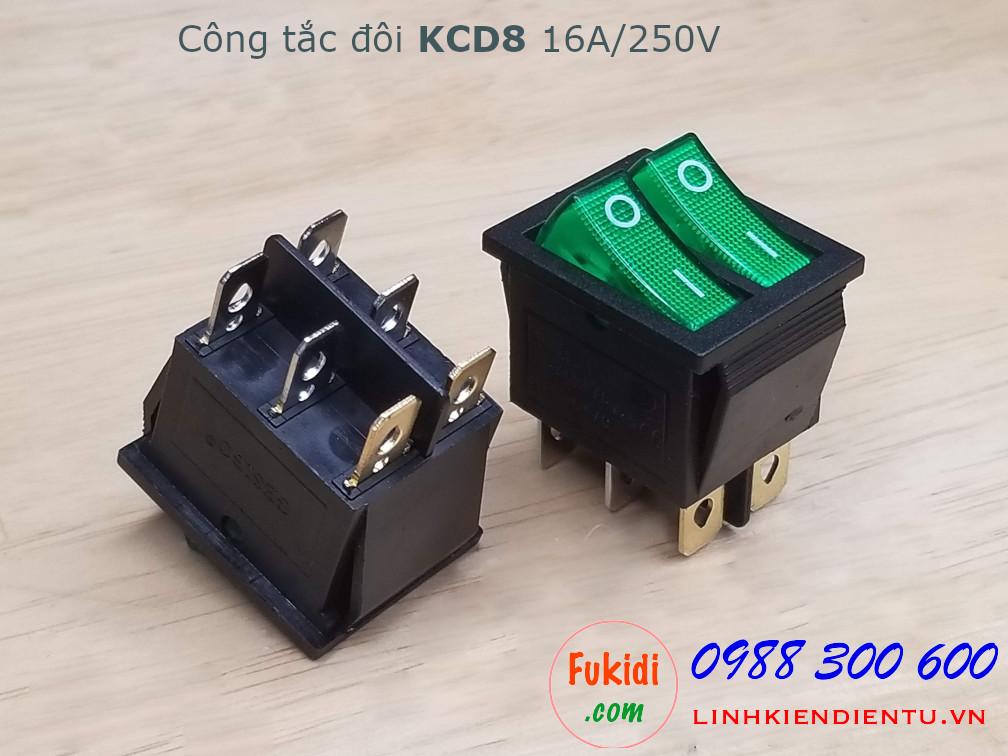 Công tắc bập bênh đôi 16A 250V KCD8 màu xanh - KCD8G