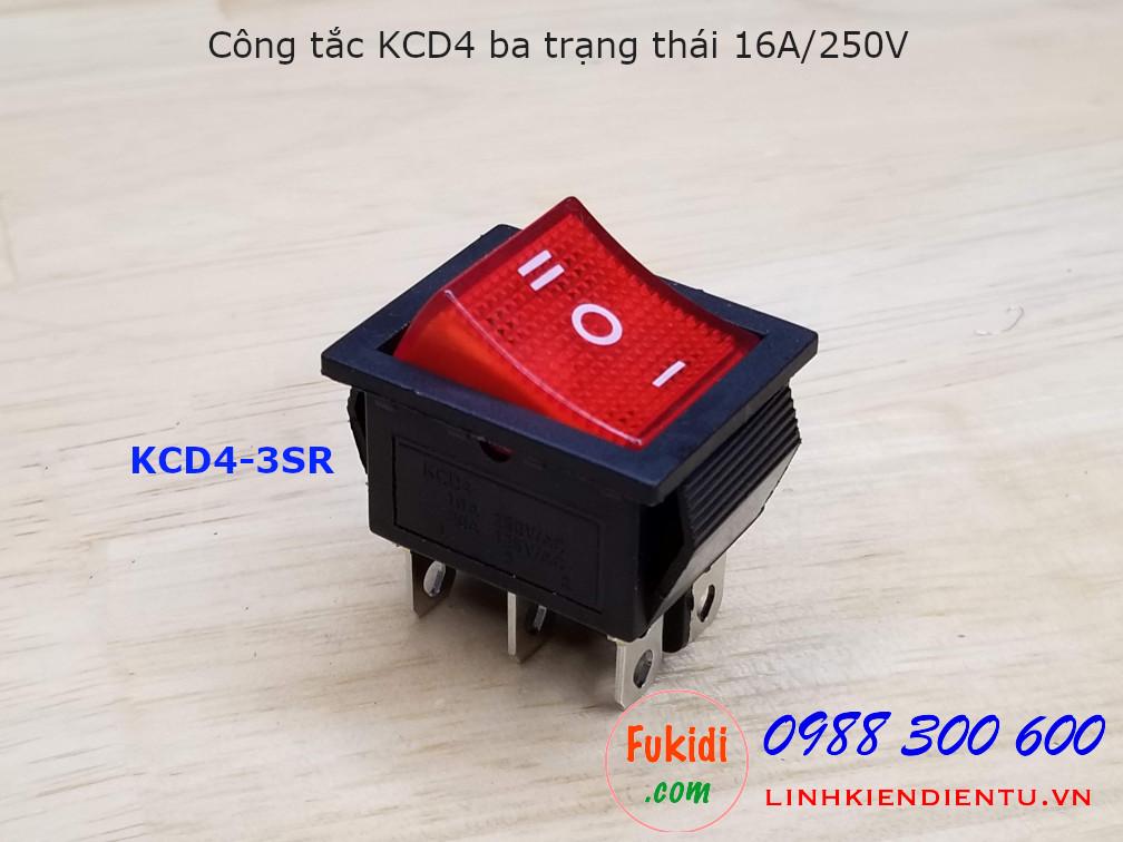 Công tắc KCD4 ba trạng thái màu đỏ - KCD4-3SR