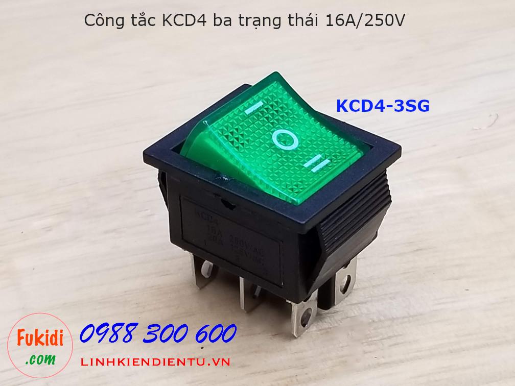 Công tắc KCD4 ba trạng thái màu xanh - KCD4-3SG