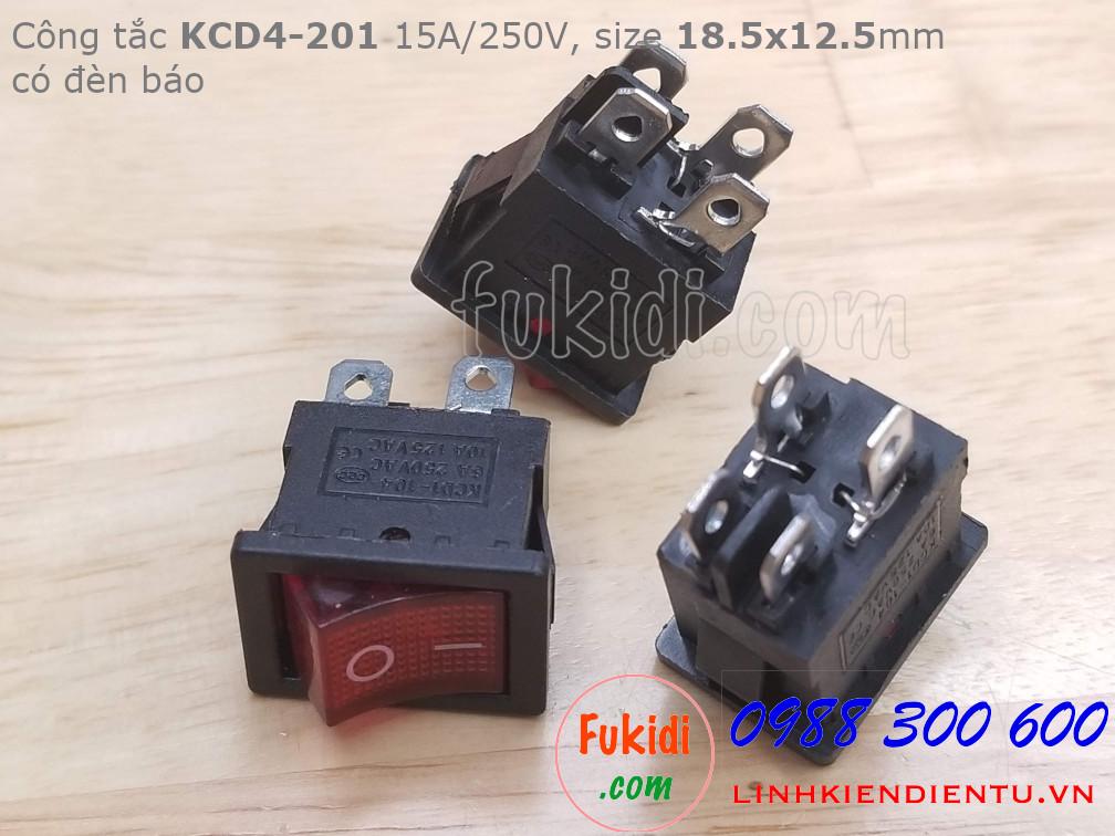 Công tắc KCD4-201 15A/250V có đèn báo màu đỏ